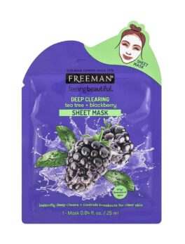 Freeman Beauty Feeling Beautiful Facial Tea Tree+Blackberry Sheet Mask in Carnesia