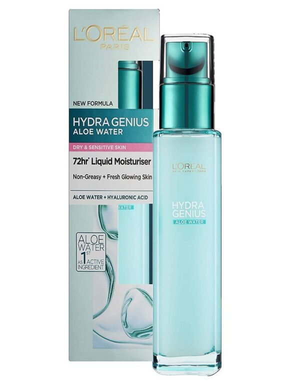 L'Oreal Hydragenius Aloe Water Liquid Moisturiser 70ml - Dry To Sensitive Skin in carnesia