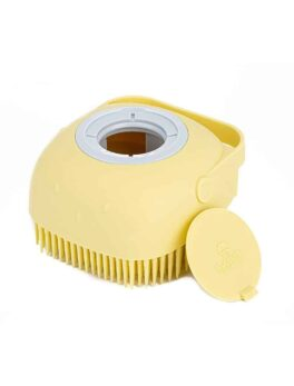 Silicone Bath and Shower Scrub Brush with Soap Dispenser Yellow in carnesia