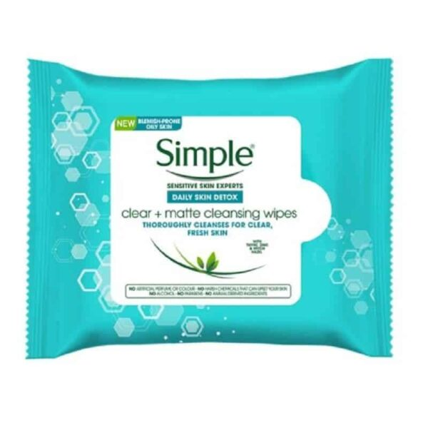 Simple Daily Skin Detox Clear + Matte Cleansing Wipes 25 Wipes in carnesia