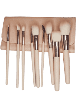 9 pcs brush set pink with bag in carnesia