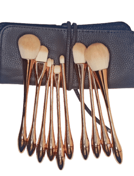 Rose Gold Makeup Brush Set of 10pcs with Pouch